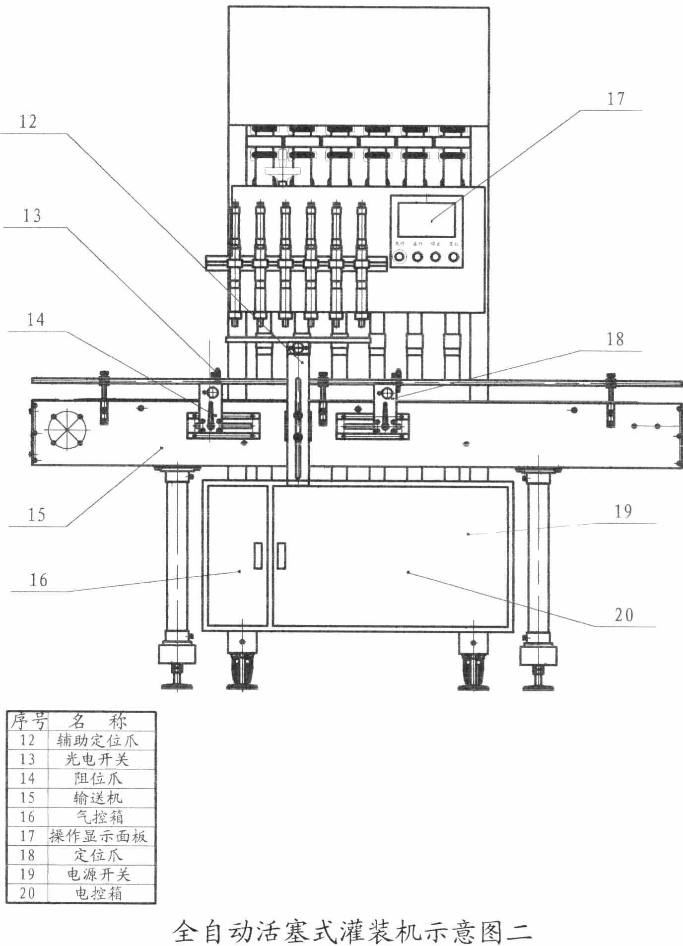 直线式瓶装液体自动灌装机架构图